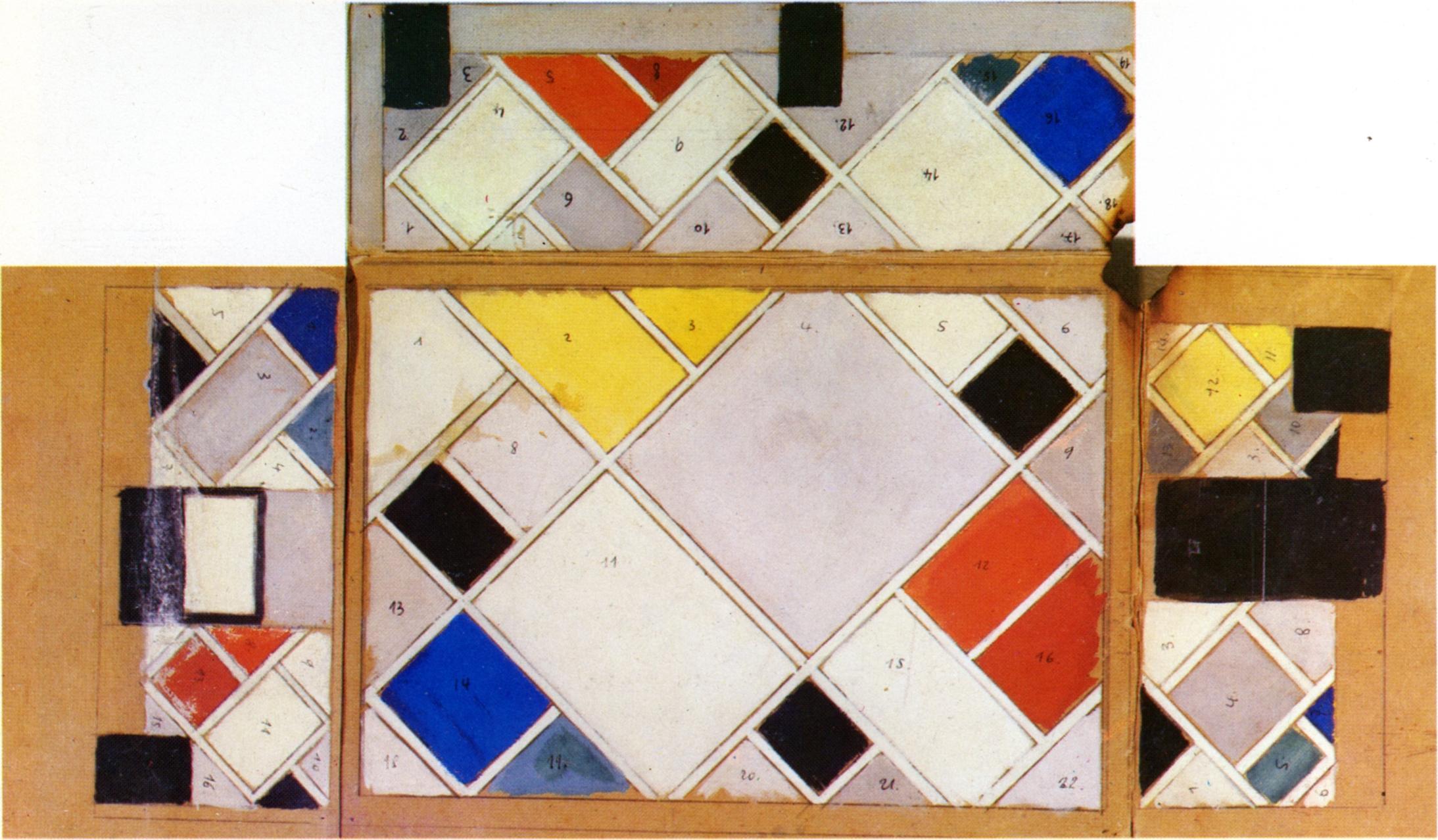 Een ontwerp van Theo van Doesburg voor de Aubette.